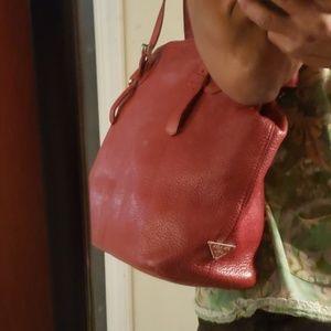 Auth. Prada red leather bag